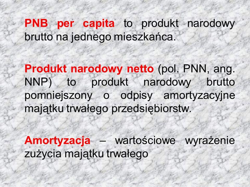 PNB per capita to produkt narodowy brutto na jednego mieszkańca. Produkt narodowy netto (pol. PNN, ang. NNP) to produkt narodowy brutto pomniejszony o