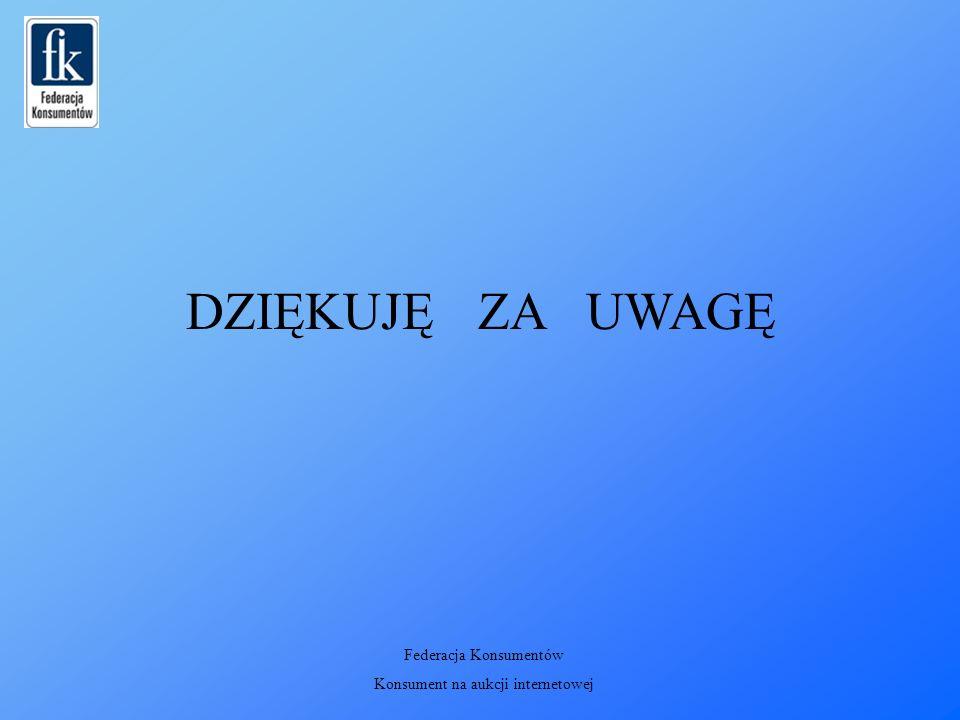 DZIĘKUJĘ ZA UWAGĘ Federacja Konsumentów Konsument na aukcji internetowej