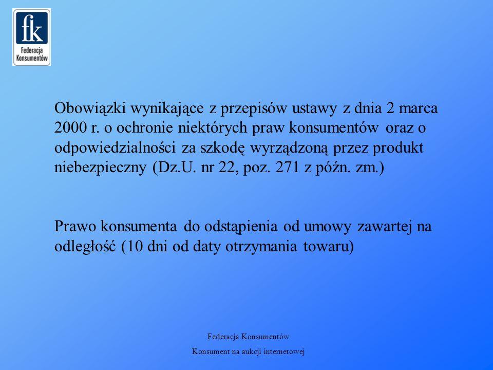 Obowiązki wynikające z przepisów ustawy z dnia 2 marca 2000 r.