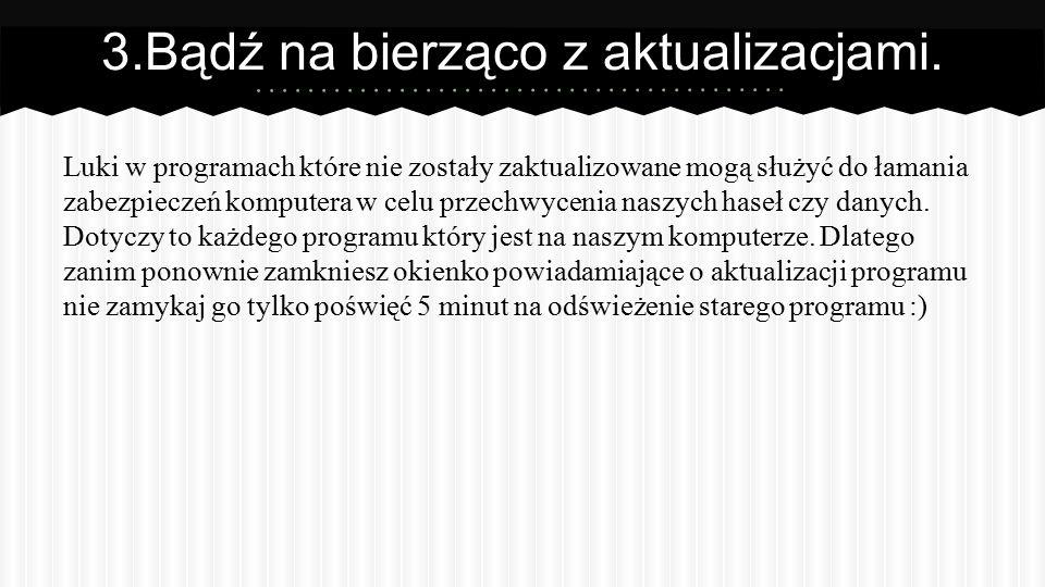 BIBLIOGRAFIA: http://www.arcabit.pl/news/Aktualizuj-oprogramowaniewazna-zasada- bezpieczenstwa-,28 http://like-a-geek.jogger.pl/2010/11/05/facebook-usuniecie-uzytkownika-nie- kasuje-zdjec/ http://pl.wikipedia.org/wiki/NOD32 http://windows.microsoft.com/pl-pl/windows7/products/features/windows- update http://pl.wikipedia.org/wiki/Avasthttp://pl.wikipedia.org/wiki/Avast.