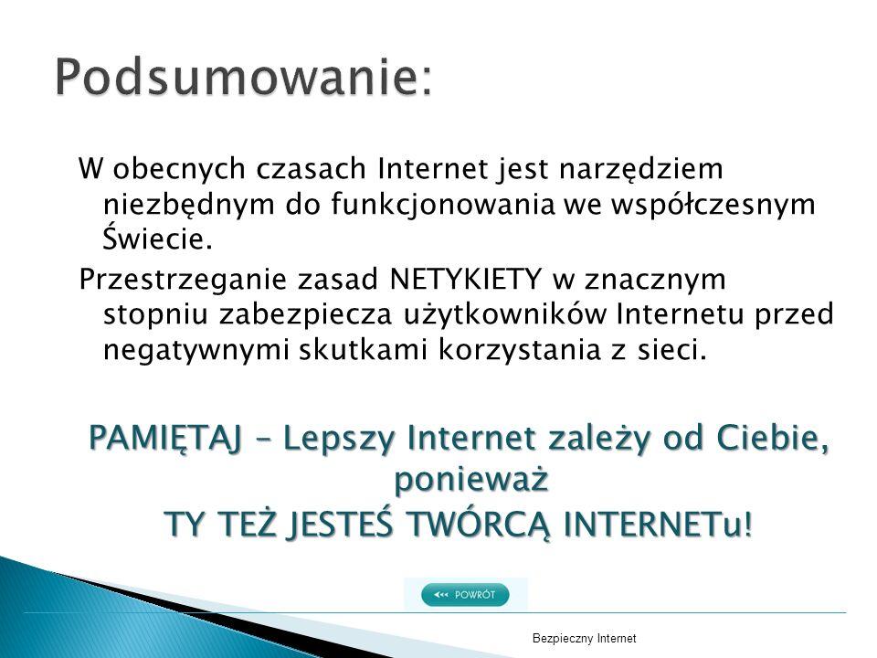 W obecnych czasach Internet jest narzędziem niezbędnym do funkcjonowania we współczesnym Świecie. Przestrzeganie zasad NETYKIETY w znacznym stopniu za