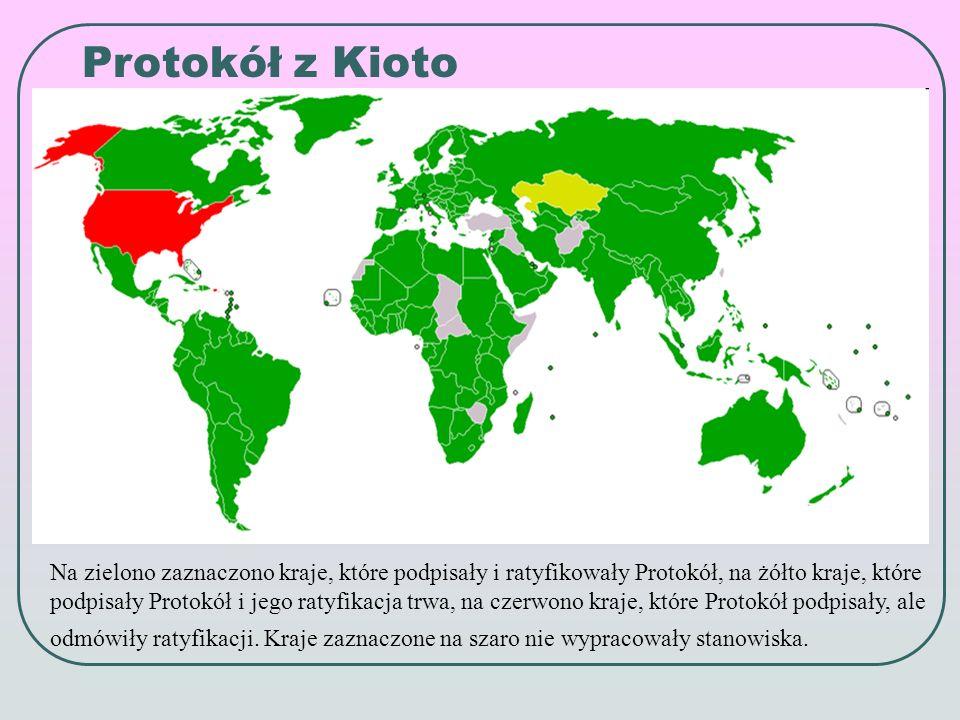 Na zielono zaznaczono kraje, które podpisały i ratyfikowały Protokół, na żółto kraje, które podpisały Protokół i jego ratyfikacja trwa, na czerwono kraje, które Protokół podpisały, ale odmówiły ratyfikacji.