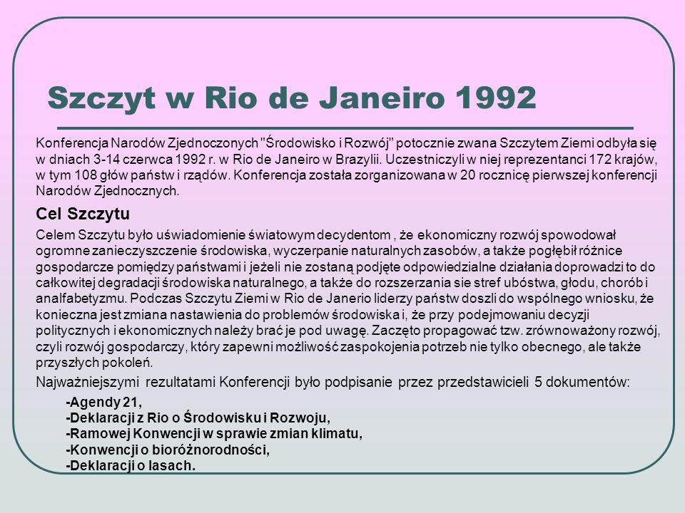 Szczyt w Rio de Janeiro 1992 Konferencja Narodów Zjednoczonych Środowisko i Rozwój potocznie zwana Szczytem Ziemi odbyła się w dniach 3-14 czerwca 1992 r.
