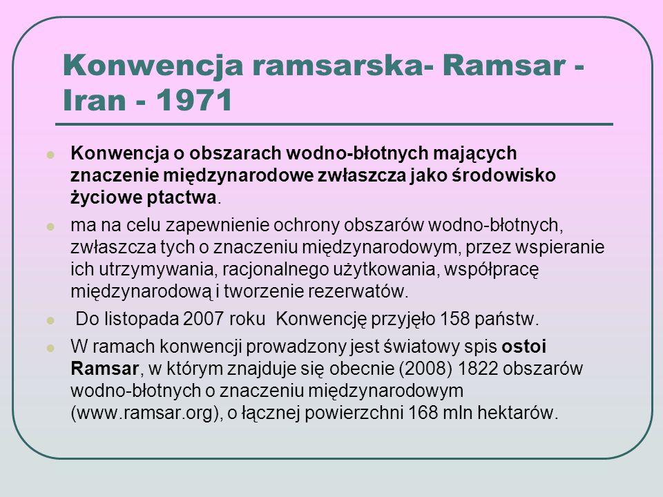 Konwencja ramsarska- Ramsar - Iran - 1971 Konwencja o obszarach wodno-błotnych mających znaczenie międzynarodowe zwłaszcza jako środowisko życiowe ptactwa.