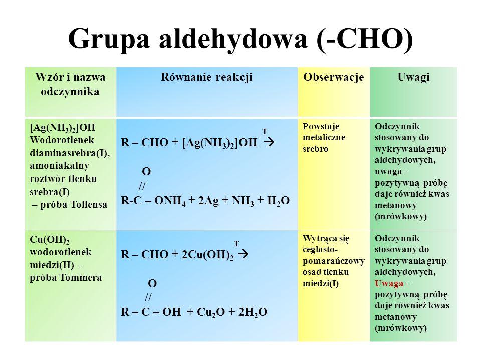Grupa hydroksylowa (-OH) Wzór i nazwa odczynnika Równanie reakcji Obserwa- cje Uwagi Wodorotlenek miedzi(II) Cu(OH) 2 OH CH 2 - OH O 2- CH 2 -OH / / | + Cu  Cu +2H + Cu 2 -OH \ \ OH CH 2 – OH O Roztwór przyjmuje barwę szafirową Wykrywanie związków polihydro- ksylowych Chlorek żelaza(III) FeCl 3 3+ OH | | 3 +Fe 3+  O - H Fe -O O - | | H H Roztwór przyjmuje barwę granatową, czerwoną, purpurową lub zieloną w zależności od rodzaju fenolu Wykrywanie fenoli
