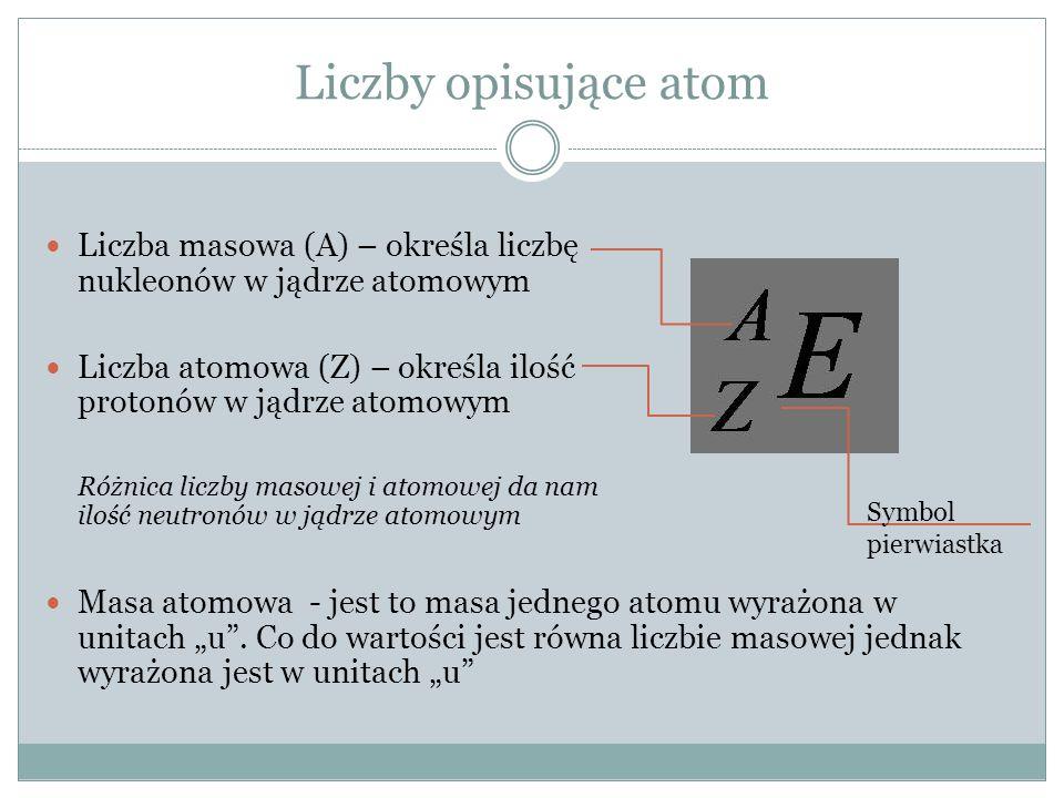 """Liczby opisujące atom Liczba masowa (A) – określa liczbę nukleonów w jądrze atomowym Liczba atomowa (Z) – określa ilość protonów w jądrze atomowym Różnica liczby masowej i atomowej da nam ilość neutronów w jądrze atomowym Masa atomowa - jest to masa jednego atomu wyrażona w unitach """"u ."""