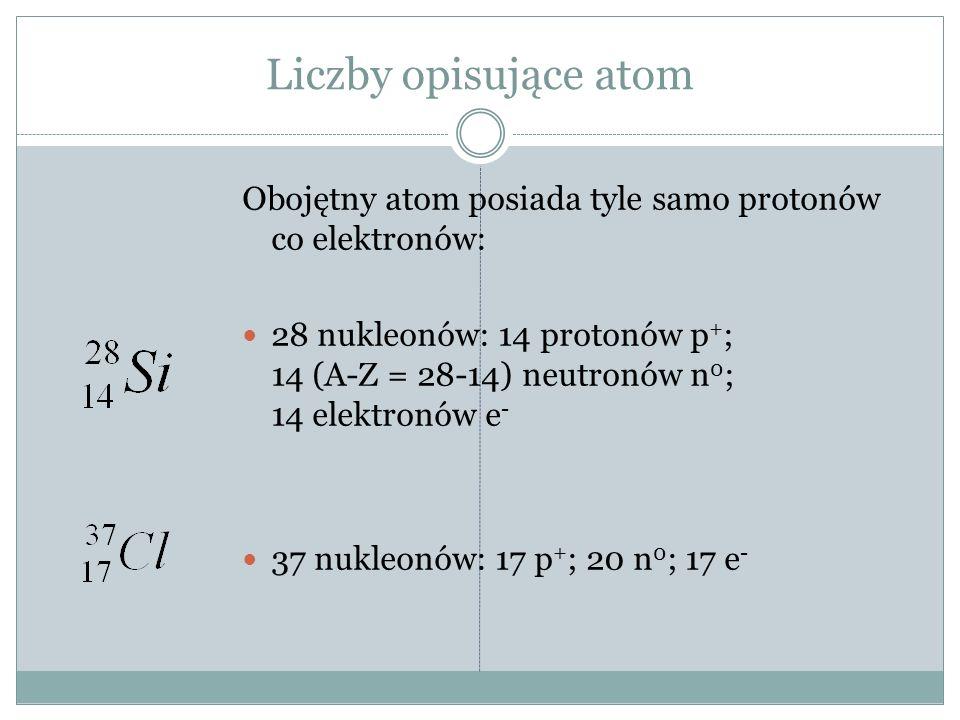 Liczby opisujące atom Obojętny atom posiada tyle samo protonów co elektronów: 28 nukleonów: 14 protonów p + ; 14 (A-Z = 28-14) neutronów n 0 ; 14 elektronów e - 37 nukleonów: 17 p + ; 20 n 0 ; 17 e -