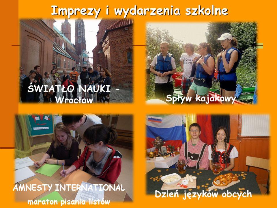 Imprezy i wydarzenia szkolne ŚWIATŁO NAUKI - Wrocław Spływ kajakowy AMNESTY INTERNATIONAL maraton pisania listów Dzień języków obcych