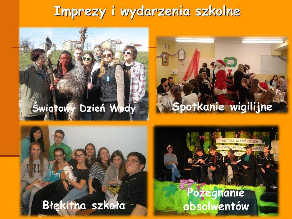 Imprezy i wydarzenia szkolne Spotkanie wigilijne Światowy Dzień Wody Błękitna szkoła Pożegnanie absolwentów