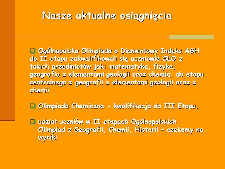 Nasze aktualne osiągnięcia  Ogólnopolska Olimpiada o Diamentowy Indeks AGH do II etapu zakwalifikowali się uczniowie SLO z takich przedmiotów jak: ma
