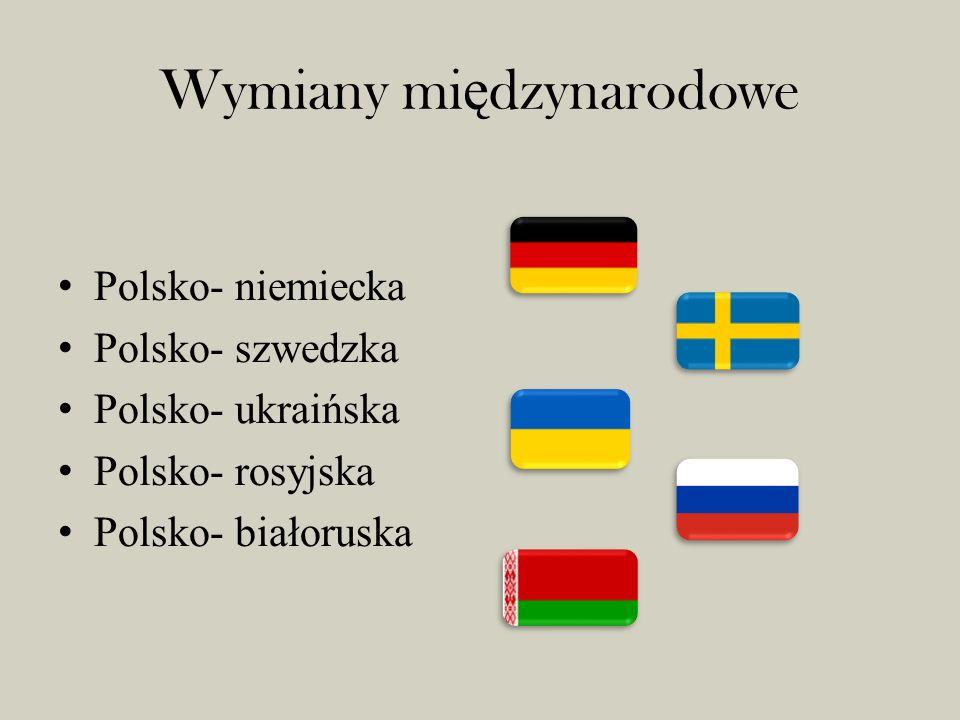Wymiany mi ę dzynarodowe Polsko- niemiecka Polsko- szwedzka Polsko- ukraińska Polsko- rosyjska Polsko- białoruska