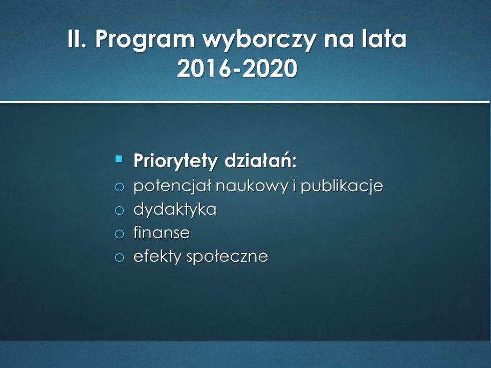  Priorytety działań: o potencjał naukowy i publikacje o dydaktyka o finanse o efekty społeczne II.
