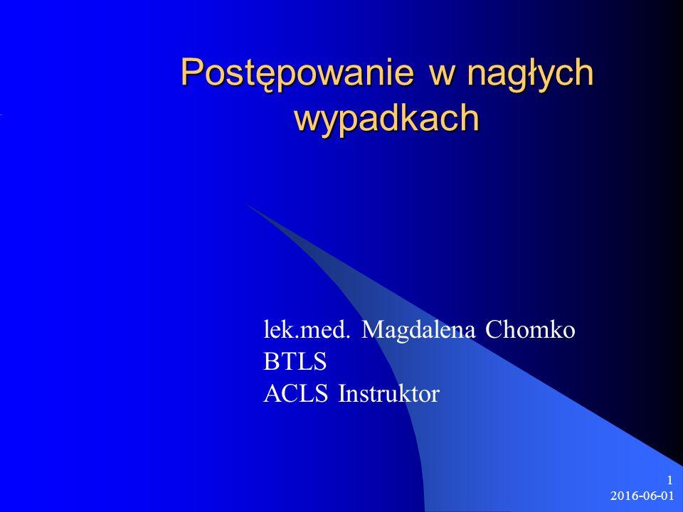 2016-06-01 1 Postępowanie w nagłych wypadkach lek.med. Magdalena Chomko BTLS ACLS Instruktor