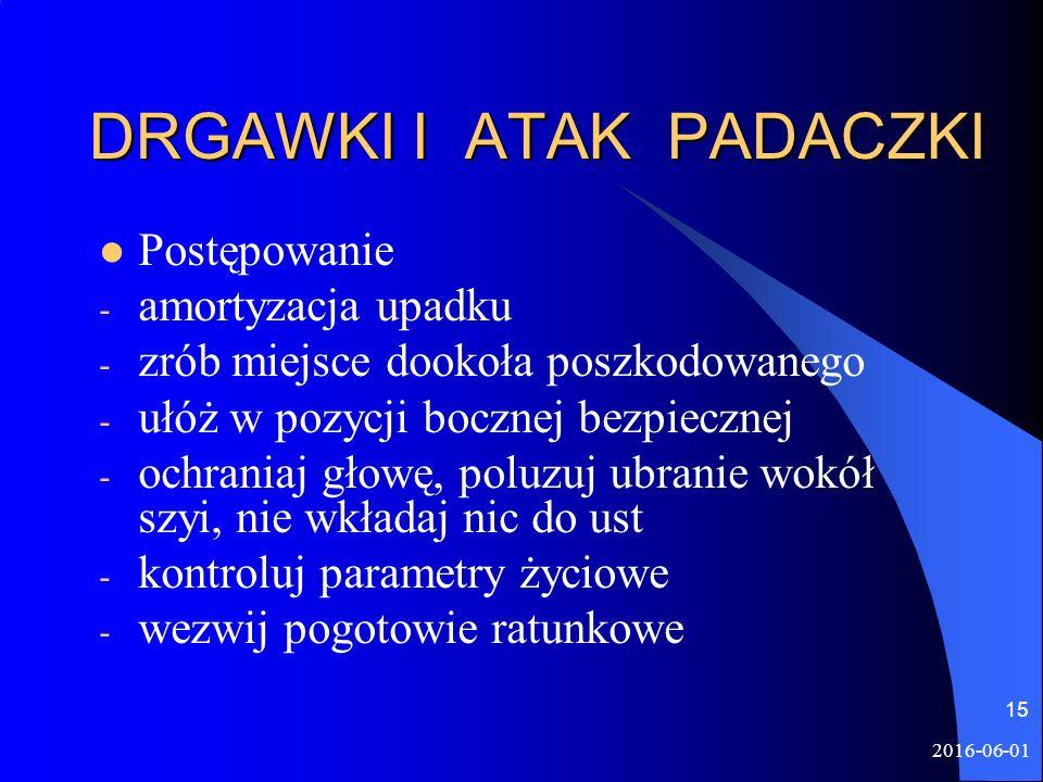 2016-06-01 15 DRGAWKI I ATAK PADACZKI Postępowanie - amortyzacja upadku - zrób miejsce dookoła poszkodowanego - ułóż w pozycji bocznej bezpiecznej - o