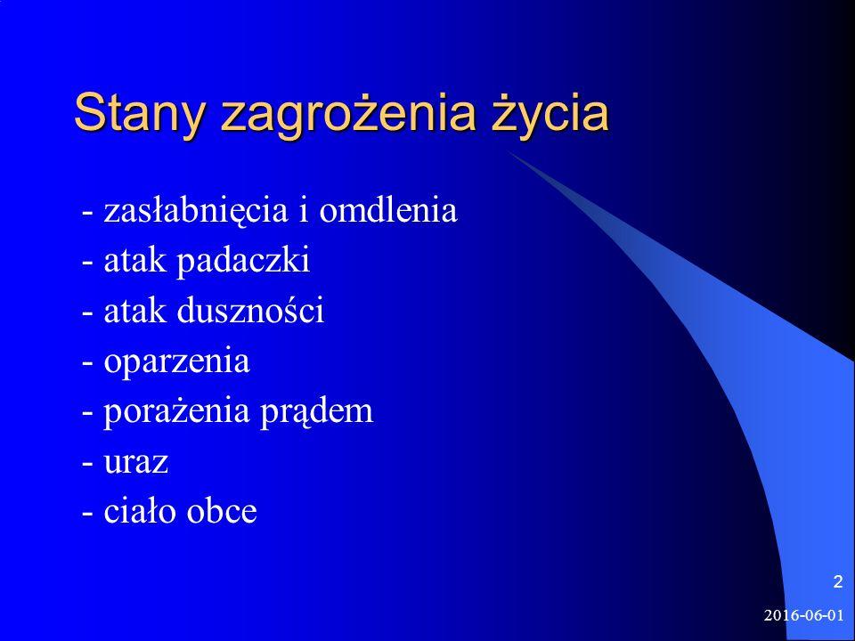 2016-06-01 2 Stany zagrożenia życia - zasłabnięcia i omdlenia - atak padaczki - atak duszności - oparzenia - porażenia prądem - uraz - ciało obce