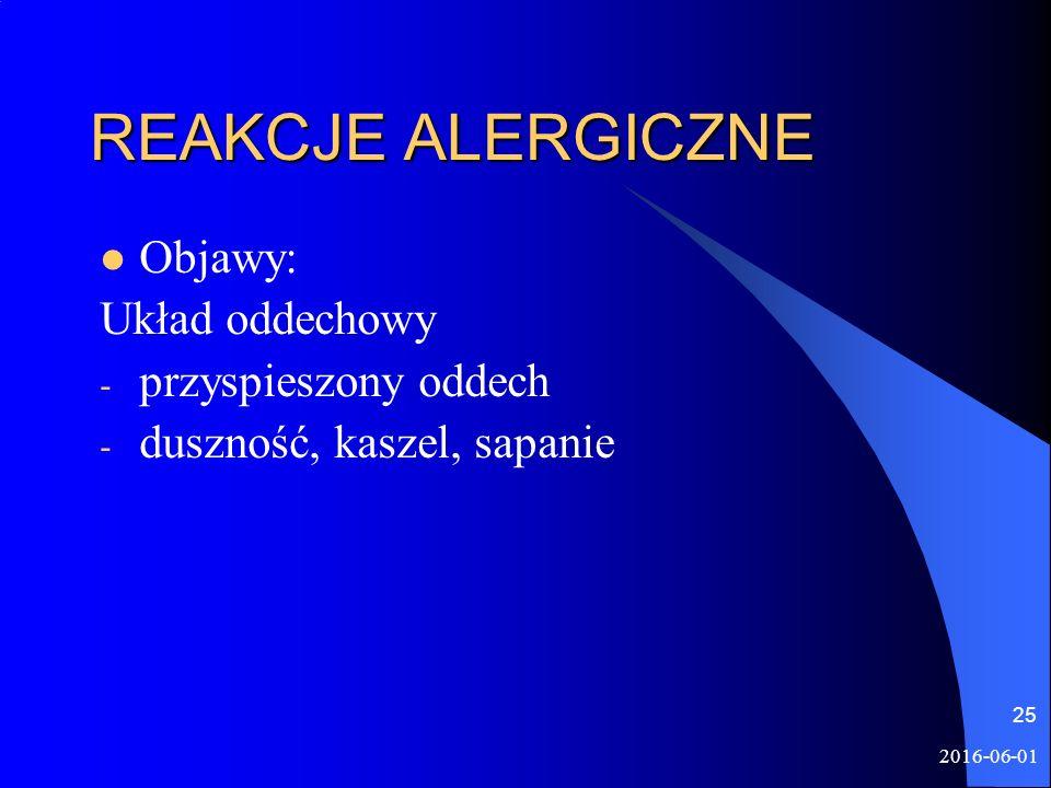 2016-06-01 25 REAKCJE ALERGICZNE Objawy: Układ oddechowy - przyspieszony oddech - duszność, kaszel, sapanie