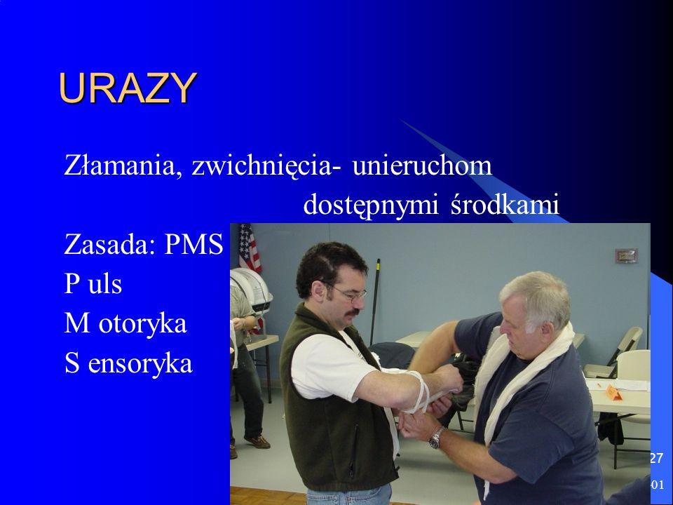 2016-06-01 27 URAZY Złamania, zwichnięcia- unieruchom dostępnymi środkami Zasada: PMS P uls M otoryka S ensoryka