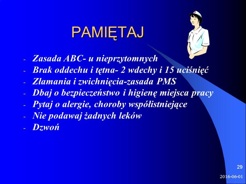2016-06-01 29 PAMIĘTAJ PAMIĘTAJ - Zasada ABC- u nieprzytomnych - Brak oddechu i tętna- 2 wdechy i 15 uciśnięć - Złamania i zwichnięcia-zasada PMS - Db