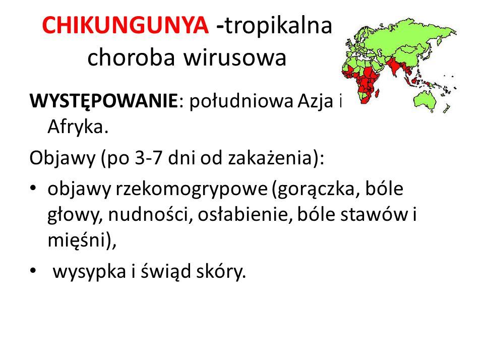 CHIKUNGUNYA -tropikalna choroba wirusowa WYSTĘPOWANIE: południowa Azja i Wschodnia Afryka. Objawy (po 3-7 dni od zakażenia): objawy rzekomogrypowe (go