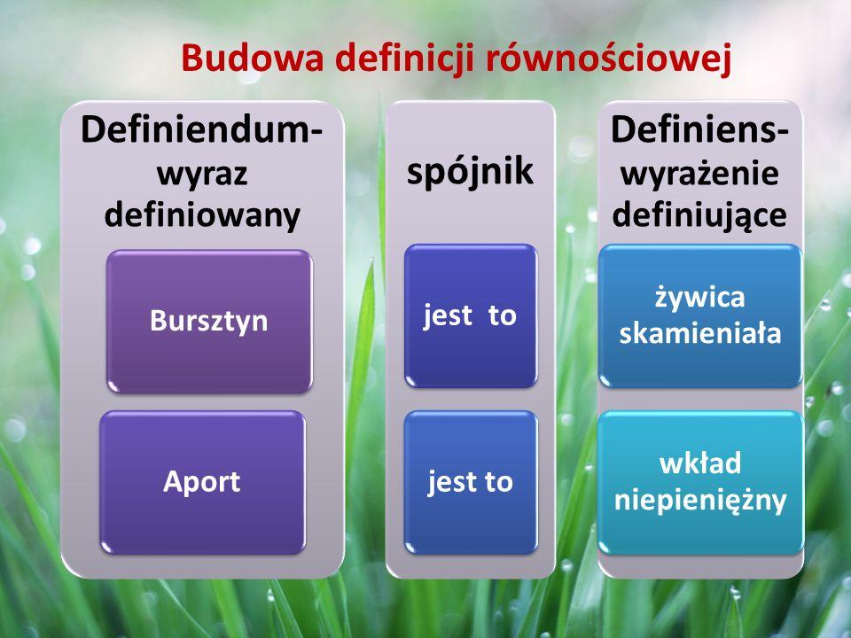 D- definiendum (wyraz definiowany) d- definiens (wyrażenie definiujące) Definicja za szeroka Przykład : Tygrys (D) jest to ssak drapieżny (d).