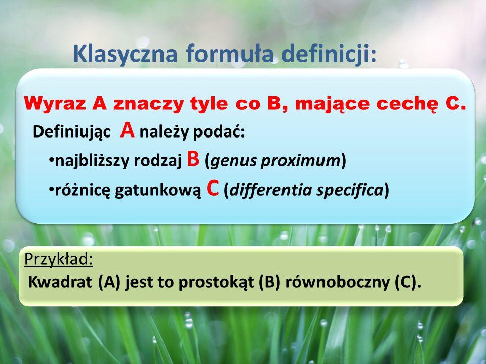 D- definiendum (wyraz definiowany) d- definiens (wyrażenie definiujące) Definicja krzyżująca Przykład : Jezioro jest to naturalny zbiornik słodkiej wody.