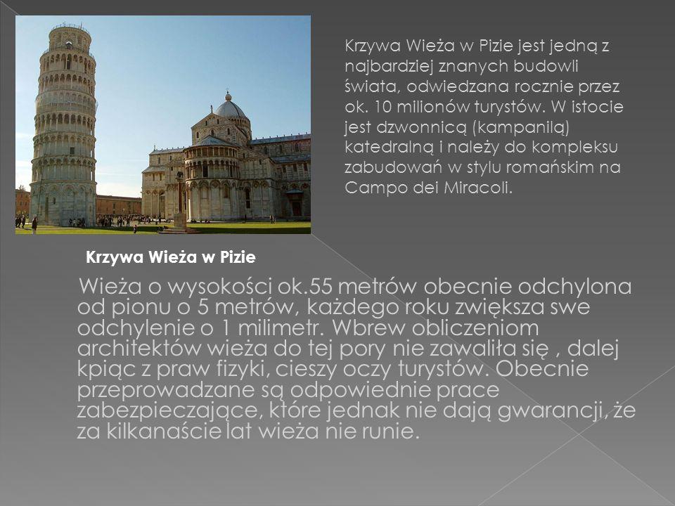 Wieża o wysokości ok.55 metrów obecnie odchylona od pionu o 5 metrów, każdego roku zwiększa swe odchylenie o 1 milimetr.