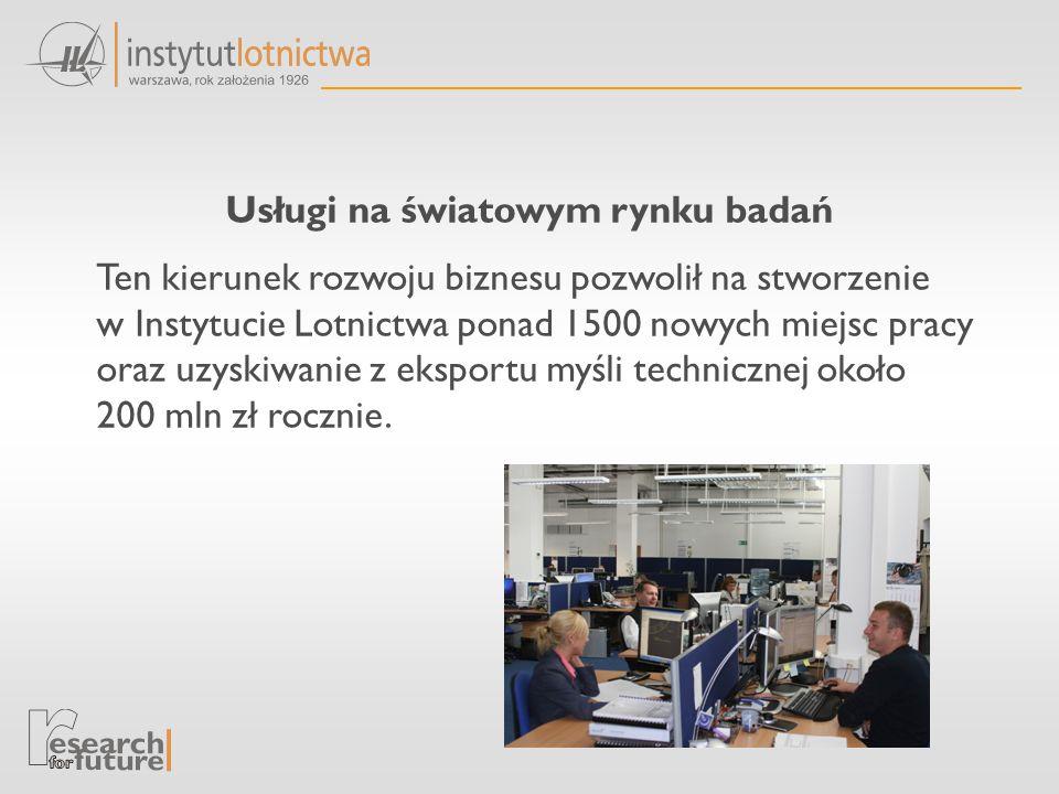 Usługi na światowym rynku badań Ten kierunek rozwoju biznesu pozwolił na stworzenie w Instytucie Lotnictwa ponad 1500 nowych miejsc pracy oraz uzyskiwanie z eksportu myśli technicznej około 200 mln zł rocznie.