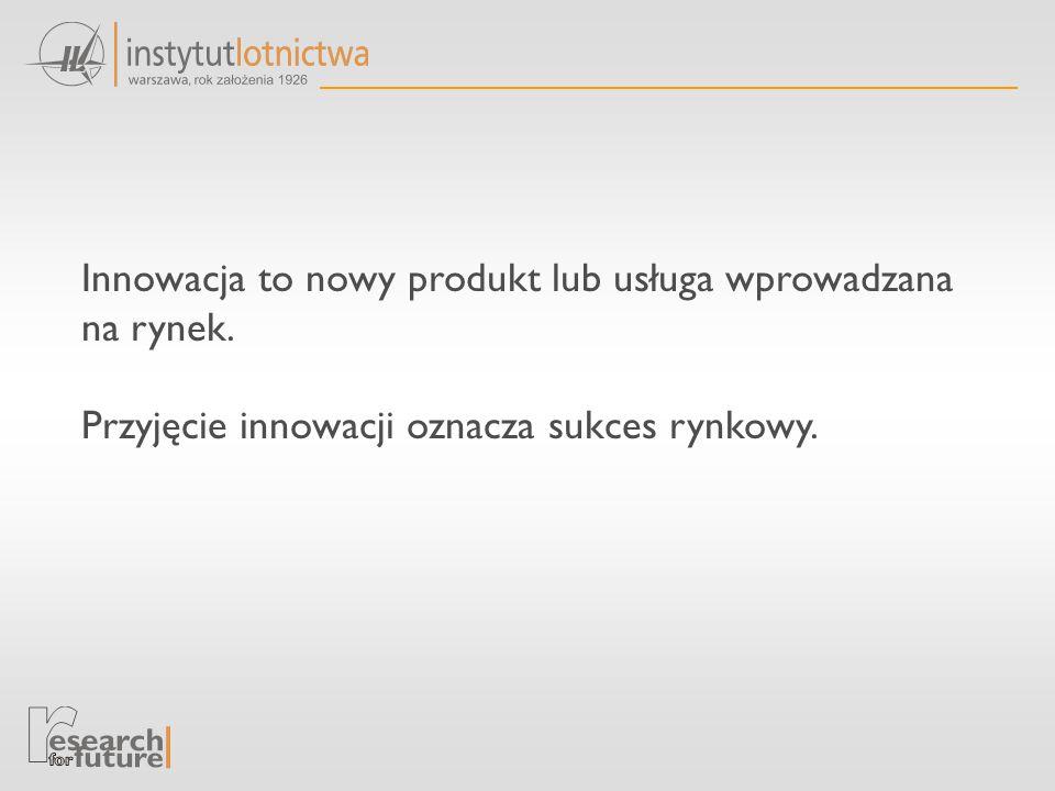 Innowacja to nowy produkt lub usługa wprowadzana na rynek.