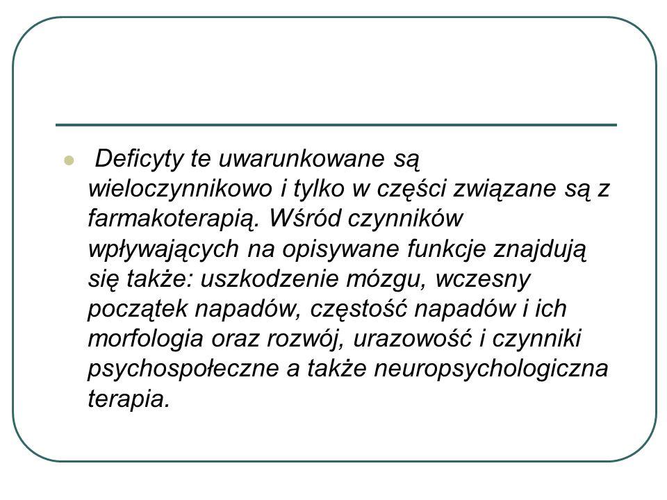 Watro podkreślić, iż wybiórcze deficyty poznawcze mogą występować także przy prawidłowym (mieszczącym się w granicach normy) ilorazie inteligencji.