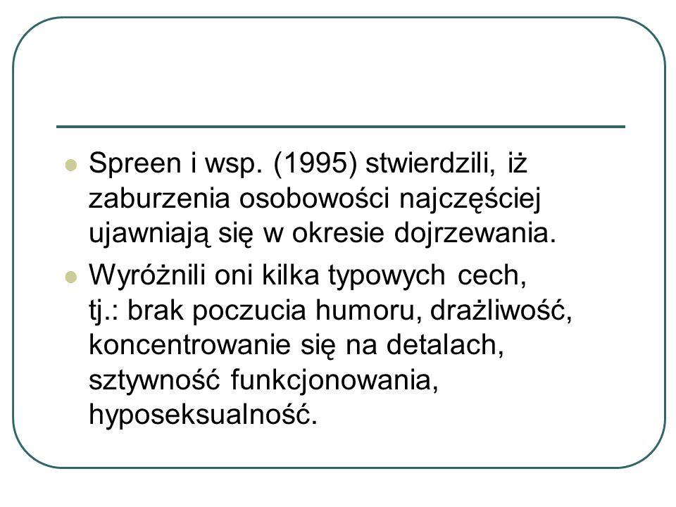 Spreen i wsp. (1995) stwierdzili, iż zaburzenia osobowości najczęściej ujawniają się w okresie dojrzewania. Wyróżnili oni kilka typowych cech, tj.: br