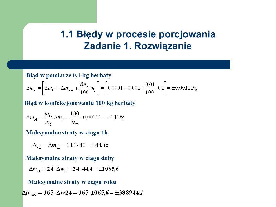 1.1 Błędy w procesie porcjowania Zadanie 1.