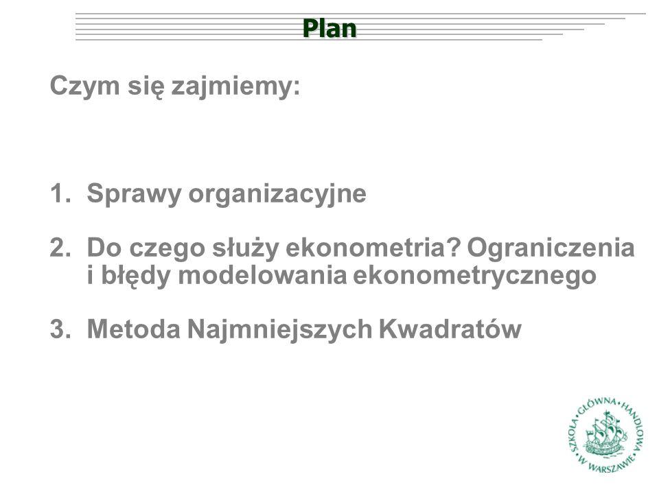 Plan Czym się zajmiemy: 1.Sprawy organizacyjne 2.Do czego służy ekonometria.