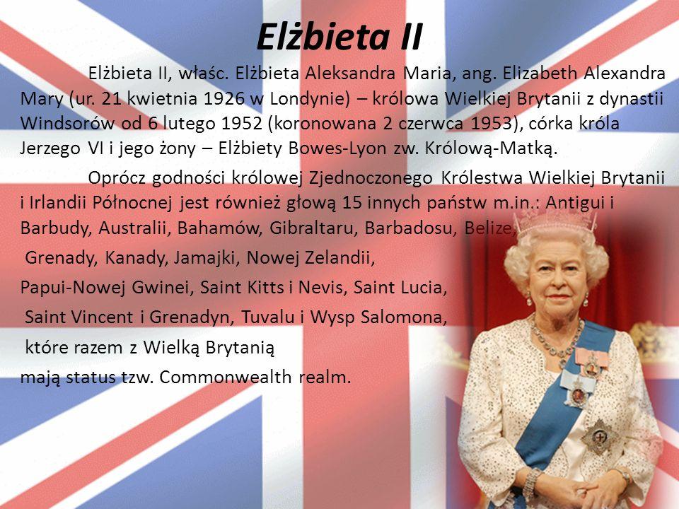 Elżbieta II Elżbieta II, właśc. Elżbieta Aleksandra Maria, ang.