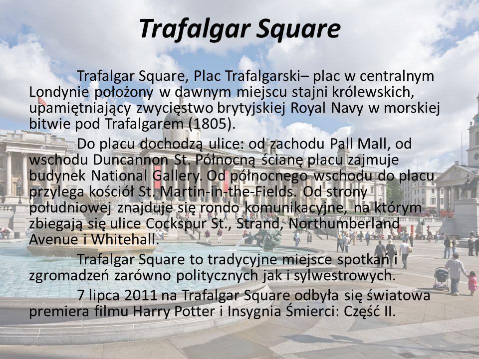 Trafalgar Square Trafalgar Square, Plac Trafalgarski– plac w centralnym Londynie położony w dawnym miejscu stajni królewskich, upamiętniający zwycięstwo brytyjskiej Royal Navy w morskiej bitwie pod Trafalgarem (1805).