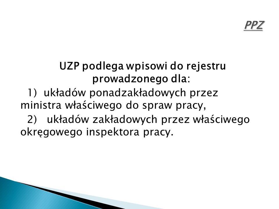 UZP podlega wpisowi do rejestru prowadzonego dla: 1) układów ponadzakładowych przez ministra właściwego do spraw pracy, 2) układów zakładowych przez w