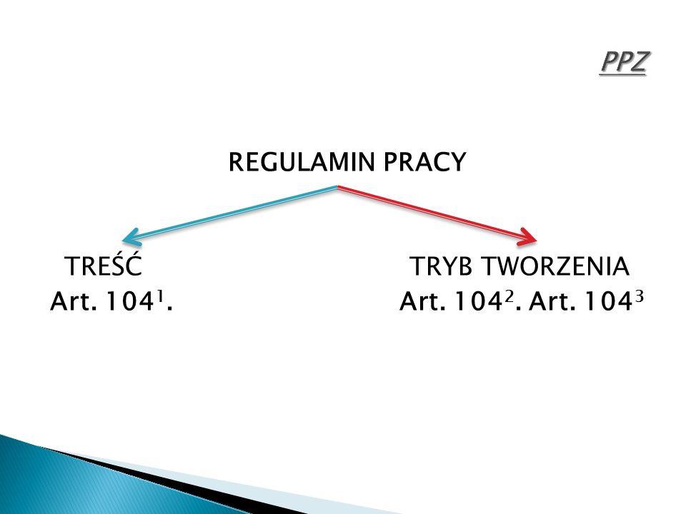 REGULAMIN PRACY TREŚĆ TRYB TWORZENIA Art. 104 1. Art. 104 2. Art. 104 3