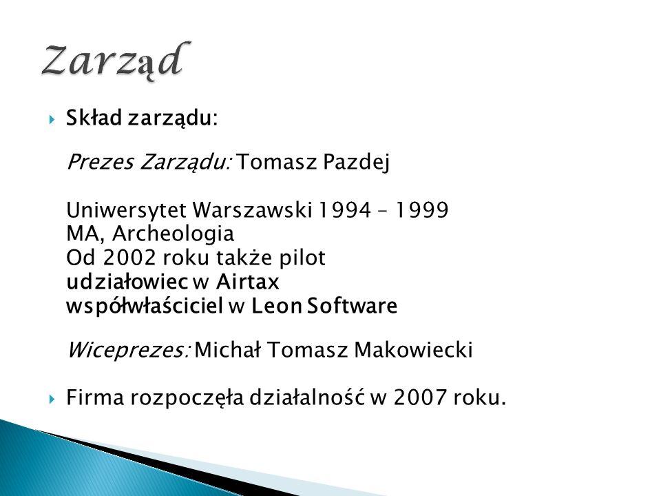  Skład zarządu: Prezes Zarządu: Tomasz Pazdej Uniwersytet Warszawski 1994 – 1999 MA, Archeologia Od 2002 roku także pilot udziałowiec w Airtax współwłaściciel w Leon Software Wiceprezes: Michał Tomasz Makowiecki  Firma rozpoczęła działalność w 2007 roku.
