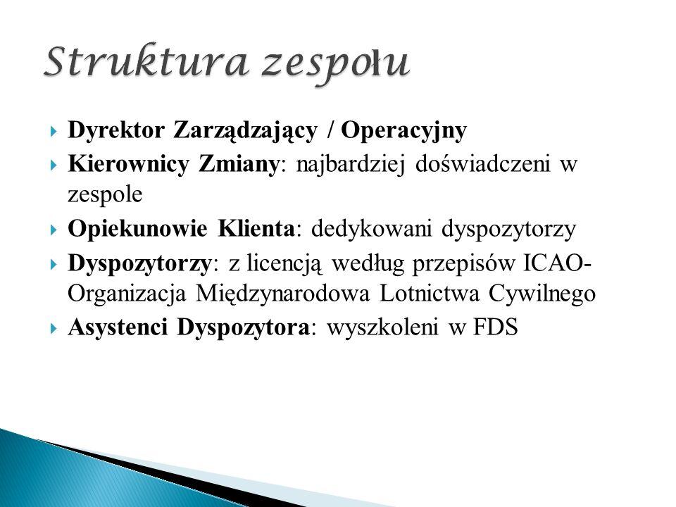  Dyrektor Zarządzający / Operacyjny  Kierownicy Zmiany: najbardziej doświadczeni w zespole  Opiekunowie Klienta: dedykowani dyspozytorzy  Dyspozytorzy: z licencją według przepisów ICAO- Organizacja Międzynarodowa Lotnictwa Cywilnego  Asystenci Dyspozytora: wyszkoleni w FDS