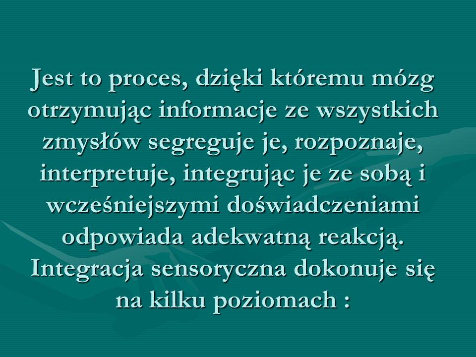 Jest to proces, dzięki któremu mózg otrzymując informacje ze wszystkich zmysłów segreguje je, rozpoznaje, interpretuje, integrując je ze sobą i wcześn