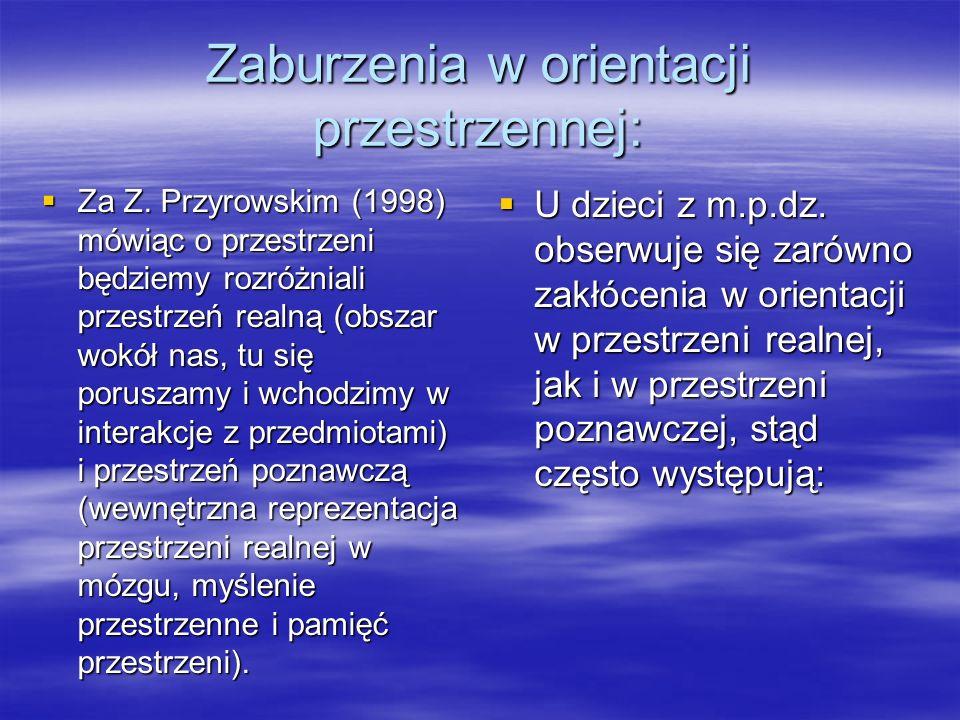 Zaburzenia w orientacji przestrzennej:  Za Z.
