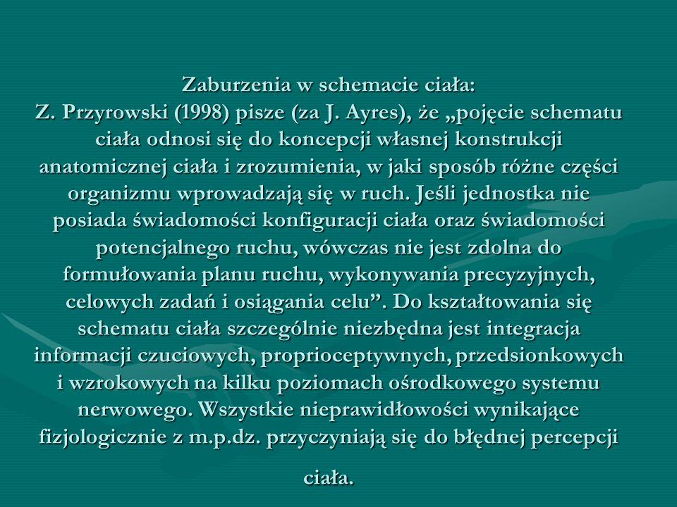 """Zaburzenia w schemacie ciała: Z. Przyrowski (1998) pisze (za J. Ayres), że """"pojęcie schematu ciała odnosi się do koncepcji własnej konstrukcji anatomi"""