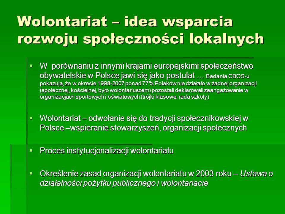 Wolontariat – idea wsparcia rozwoju społeczności lokalnych  W porównaniu z innymi krajami europejskimi społeczeństwo obywatelskie w Polsce jawi się jako postulat … Badania CBOS-u pokazują, że w okresie 1998-2007 ponad 77% Polaków nie działało w żadnej organizacji (społecznej, kościelnej, było wolontariuszem) pozostali deklarowali zaangażowanie w organizacjach sportowych i oświatowych (trójki klasowe, rada szkoły)  Wolontariat – odwołanie się do tradycji społecznikowskiej w Polsce –wspieranie stowarzyszeń, organizacji społecznych  Proces instytucjonalizacji wolontariatu  Określenie zasad organizacji wolontariatu w 2003 roku – Ustawa o działalności pożytku publicznego i wolontariacie