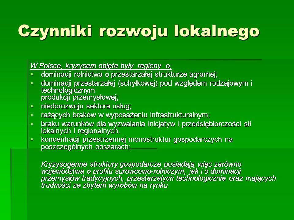 Czynniki rozwoju lokalnego W Polsce, kryzysem objęte były regiony o;  dominacji rolnictwa o przestarzałej strukturze agrarnej;  dominacji przestarzałej (schyłkowej) pod względem rodzajowym i technologicznym produkcji przemysłowej;  niedorozwoju sektora usług;  rażących braków w wyposażeniu infrastrukturalnym;  braku warunków dla wyzwalania inicjatyw i przedsiębiorczości sił lokalnych i regionalnych.