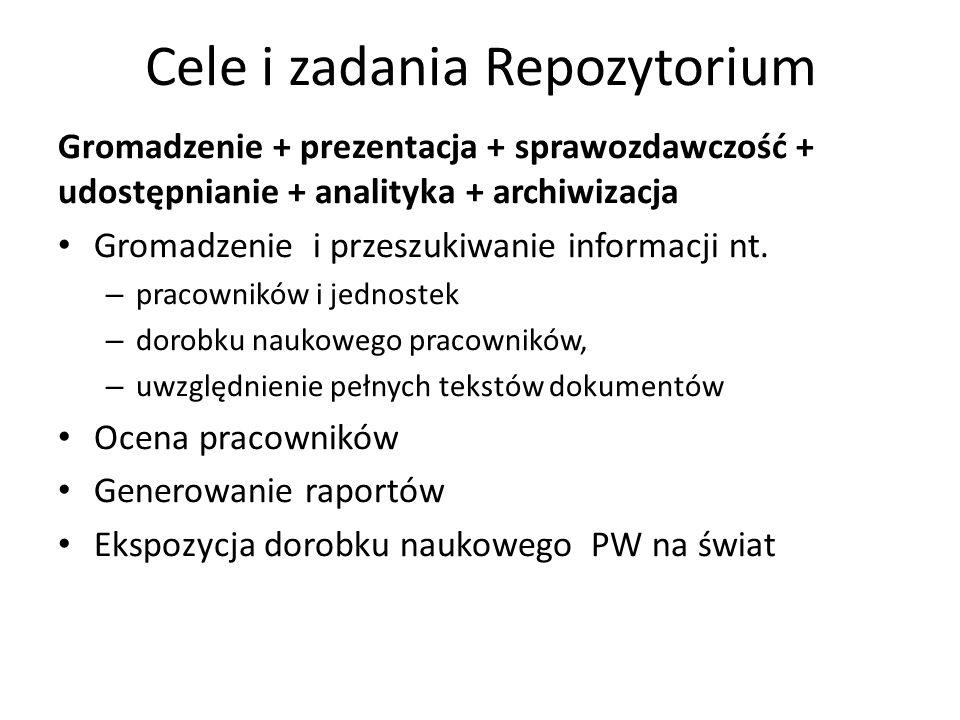 Cele i zadania Repozytorium Gromadzenie + prezentacja + sprawozdawczość + udostępnianie + analityka + archiwizacja Gromadzenie i przeszukiwanie inform