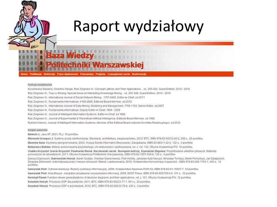 Raport wydziałowy