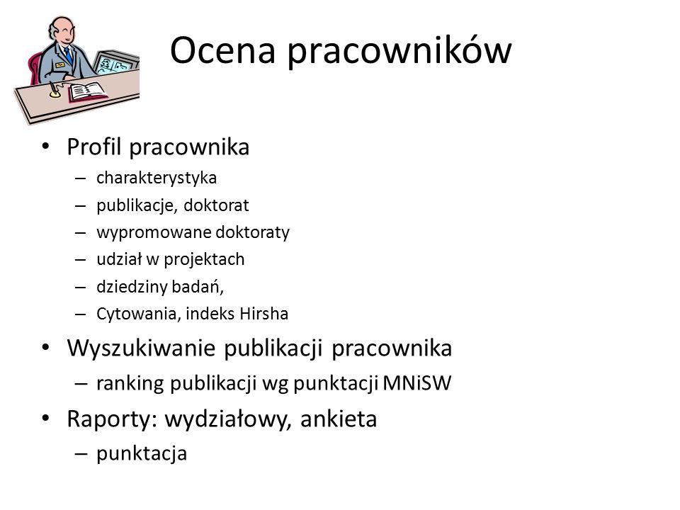 Ocena pracowników Profil pracownika – charakterystyka – publikacje, doktorat – wypromowane doktoraty – udział w projektach – dziedziny badań, – Cytowa