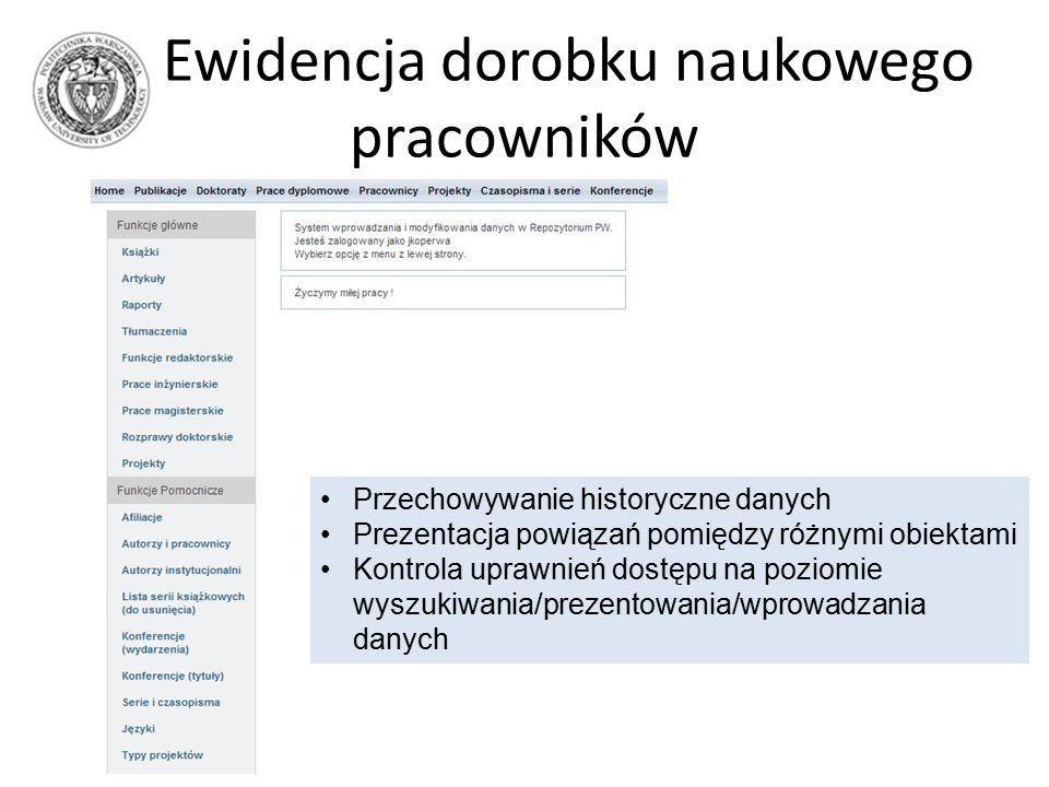 Ewidencja dorobku naukowego pracowników Przechowywanie historyczne danych Prezentacja powiązań pomiędzy różnymi obiektami Kontrola uprawnień dostępu na poziomie wyszukiwania/prezentowania/wprowadzania danych