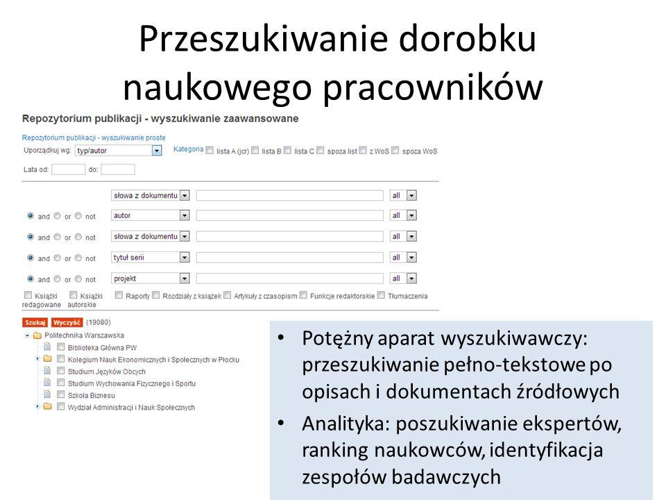Przeszukiwanie dorobku naukowego pracowników Potężny aparat wyszukiwawczy: przeszukiwanie pełno-tekstowe po opisach i dokumentach źródłowych Analityka