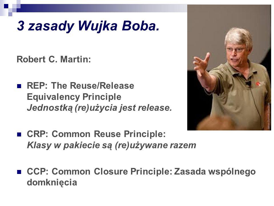 3 zasady Wujka Boba. Robert C. Martin: REP: The Reuse/Release Equivalency Principle Jednostką (re)użycia jest release. CRP: Common Reuse Principle: Kl