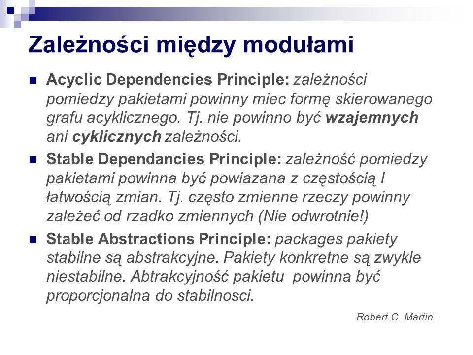 Zależności między modułami Acyclic Dependencies Principle: zależności pomiedzy pakietami powinny miec formę skierowanego grafu acyklicznego. Tj. nie p